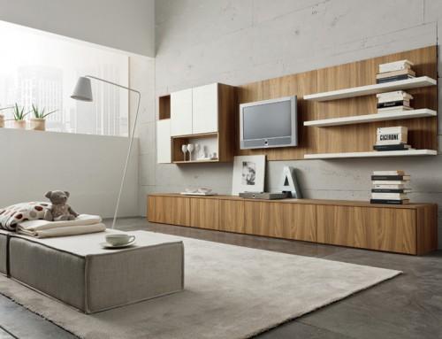 Σύνθεση καθιστικού ξύλινες επιφάνειες σε μοντέρνα εκδοχή