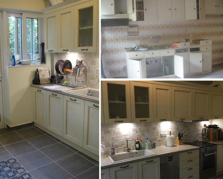 Ανακαίνιση-σπιτιού-κουζίνας-στην-Αγία-Παρασκευή Πριν-Μετα